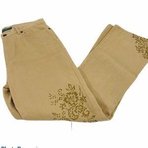 Lauren Ralph Lauren Tan Bootcut Jeans, Size 8